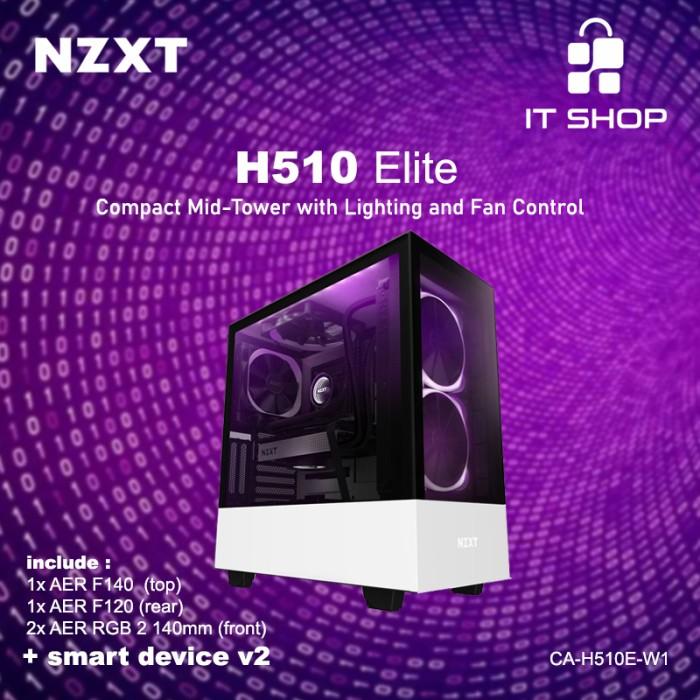 NZXT Casing Gaming H510 Elite Matte White Image