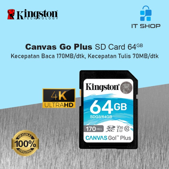 Kingston Canvas Go Plus 4K SD Card - 64GB Image