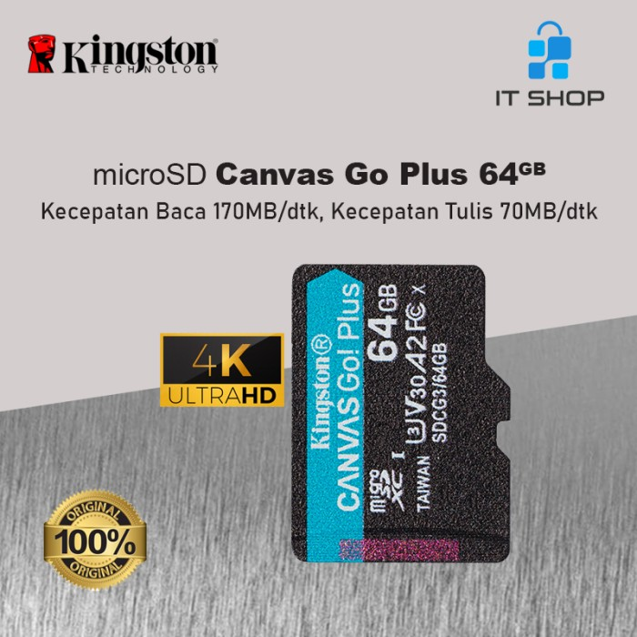 Kingston Canvas Go Plus 4K microSD Card - 64GB Image