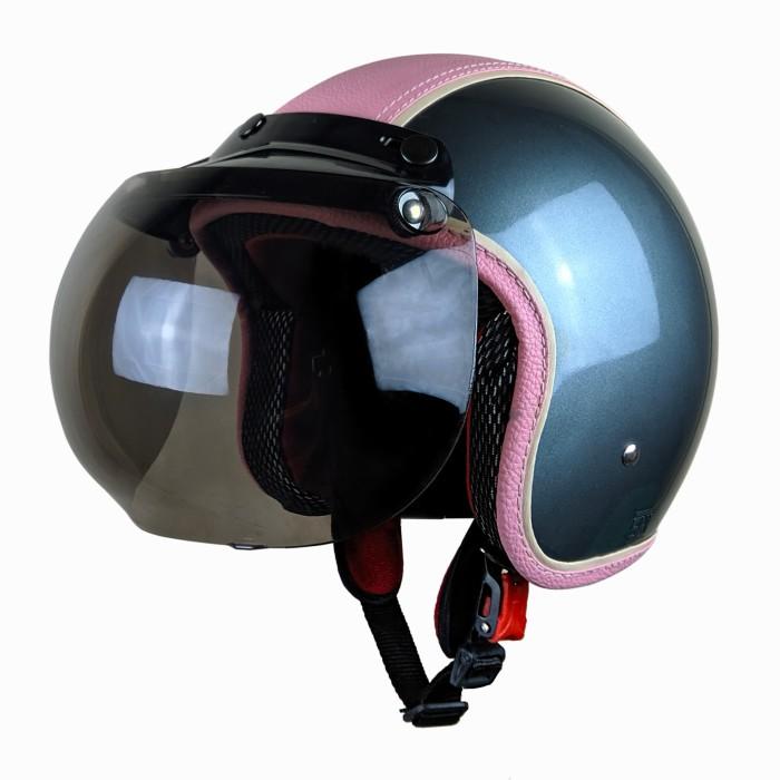 Kimura Helm Retro Klasik Semi Kulit Dewasa SNI Abu Gloss Pink Polos