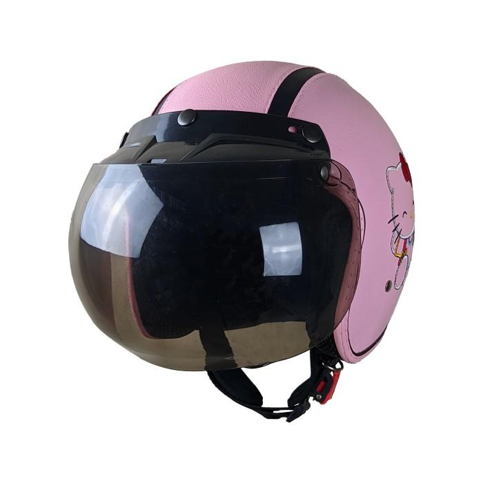 Helm Motor Bogo Kulit Bordir Dewasa SNI Motif Hello Kitty Pink Pastel