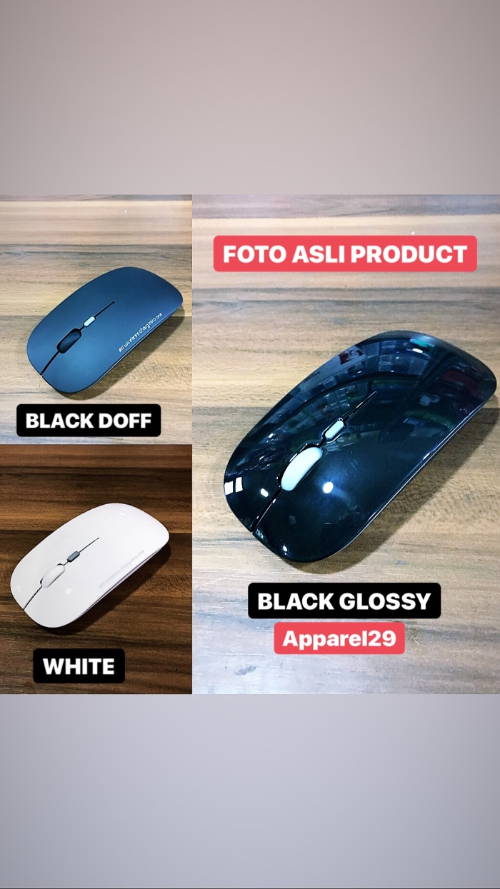 Foto Produk MOUSE WIRELESS USB 2.4GHz RECHARGEABLE with CHARGING CABLE dari apparel29