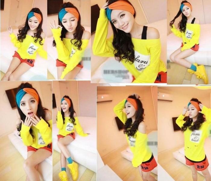 Bando bandana rambut korea 2 warna tone hairband fashion candy color