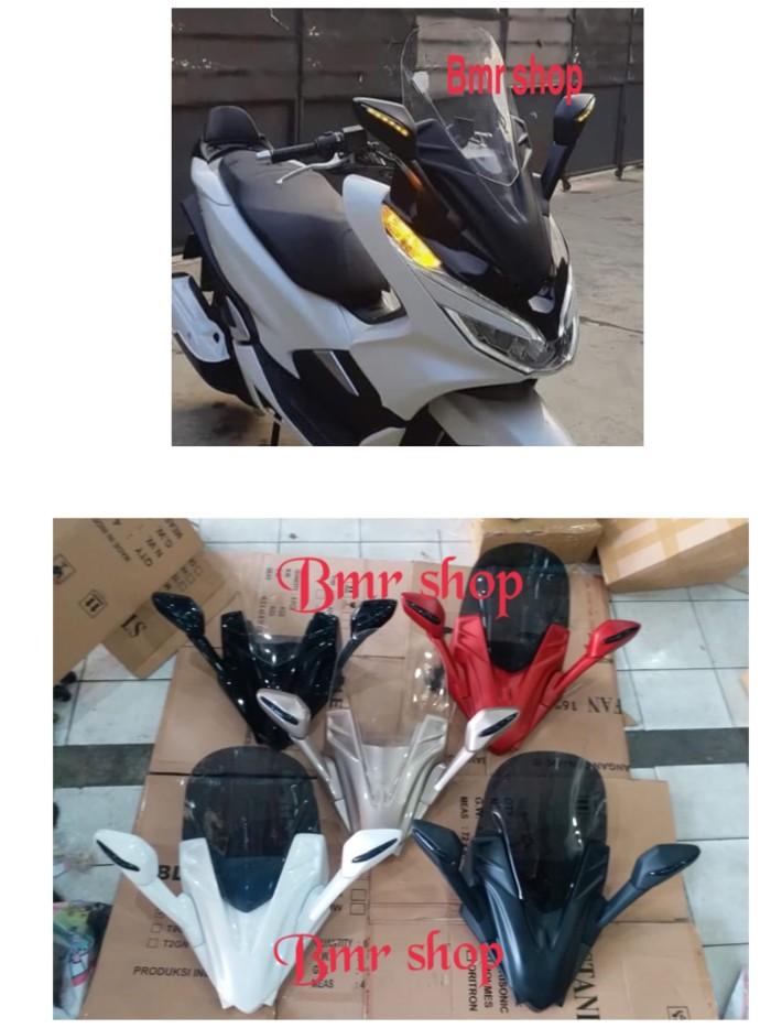 Sepaket spion lipat visor winsil windshield tameng pcx 150 lokal 2018