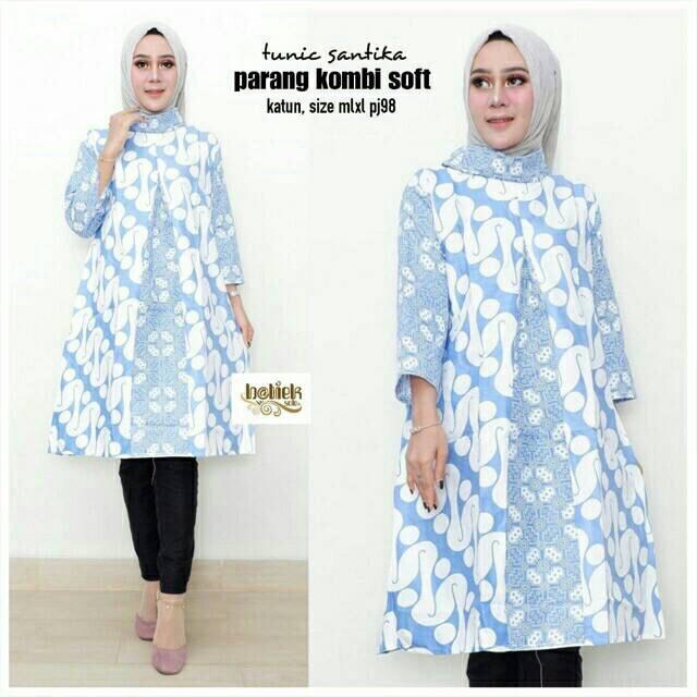 TUNIK PARANG SOFT Tunik Batik Warna l Dress Batik Turtleneck Kerja Ser 340364db2b