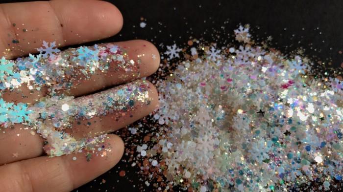 Foto Produk Snowflake glitter hexagon glitter aksesoris kuku nail art make up dari done handymade