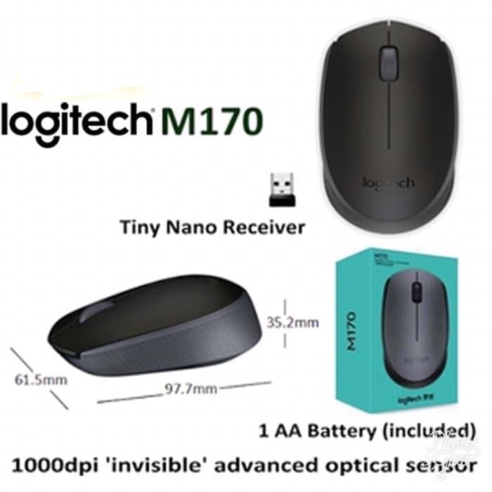 Foto Produk Mouse Wireless Logitech M170 (HITAM) Original Garansi Resmi Logitech dari MiCiShopKita