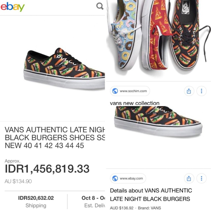 192af14a10 Jual Vans Authentic Late Night Black Burger Second - BD Shoes ...