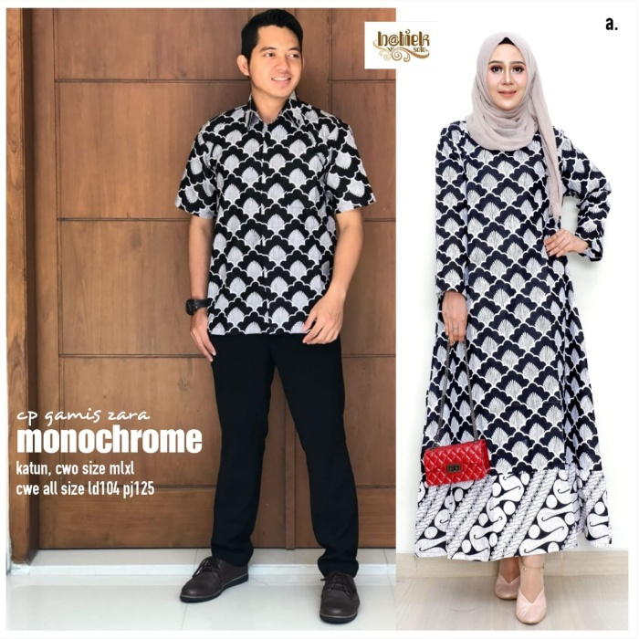 Jual Batik Couple Gamis Zara Katun Size Cow M L Xl Cew All Size
