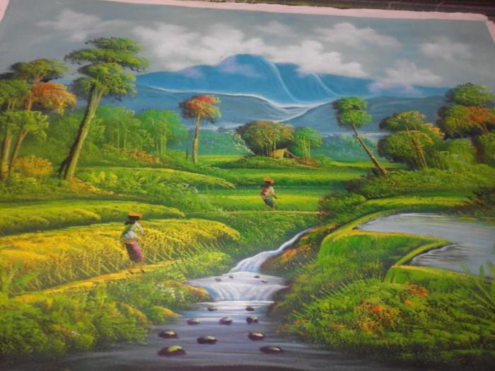 8400 Koleksi Lukisan Pemandangan Sawah Yg Mudah HD