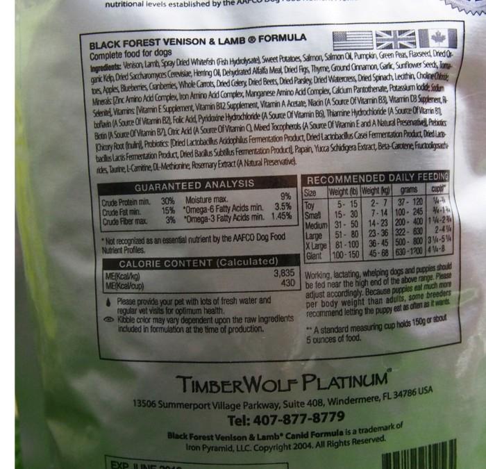 TIMBERWOLF 100% Grain Free Black Forest Venison & Lamb Dog Food