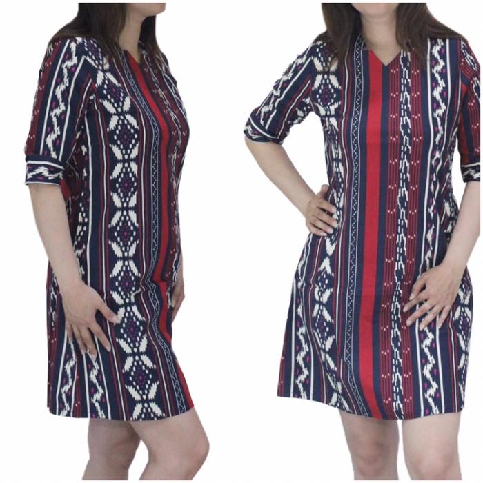 harga Baju dress batik songket wanita lengan pendek bahan katun strecth Tokopedia.com