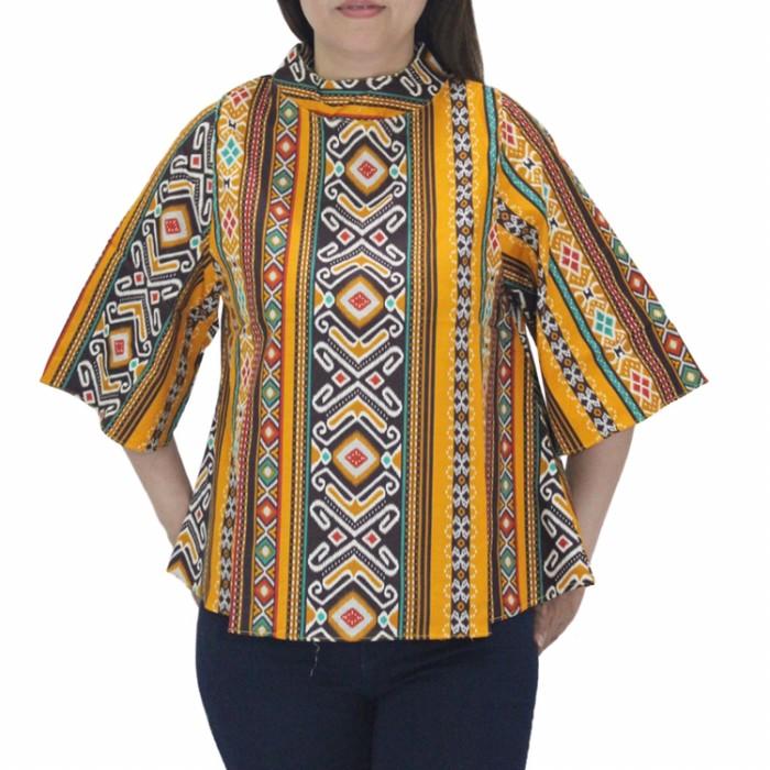 harga Blouse batik songket wanita jumbo lengan panjang bahan katun strecth Tokopedia.com