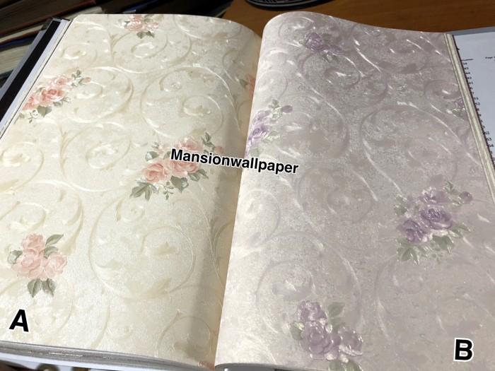 Jual Wallpaper Dinding Bunga Shabby Pink Ungu Ulir Klasik ...