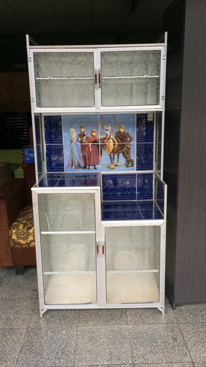 harga Lemari / rak piring full kaca 2 pintu tanpa kunci frozen Tokopedia.com