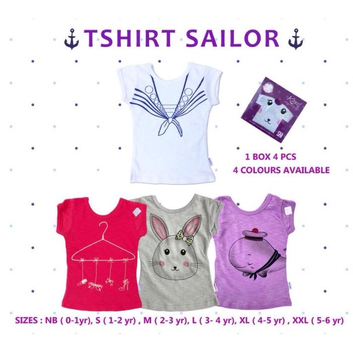 Kazel Tshirt Sailor Girls Isi 4pcs Kaos Atasan Baju Anak Cewek