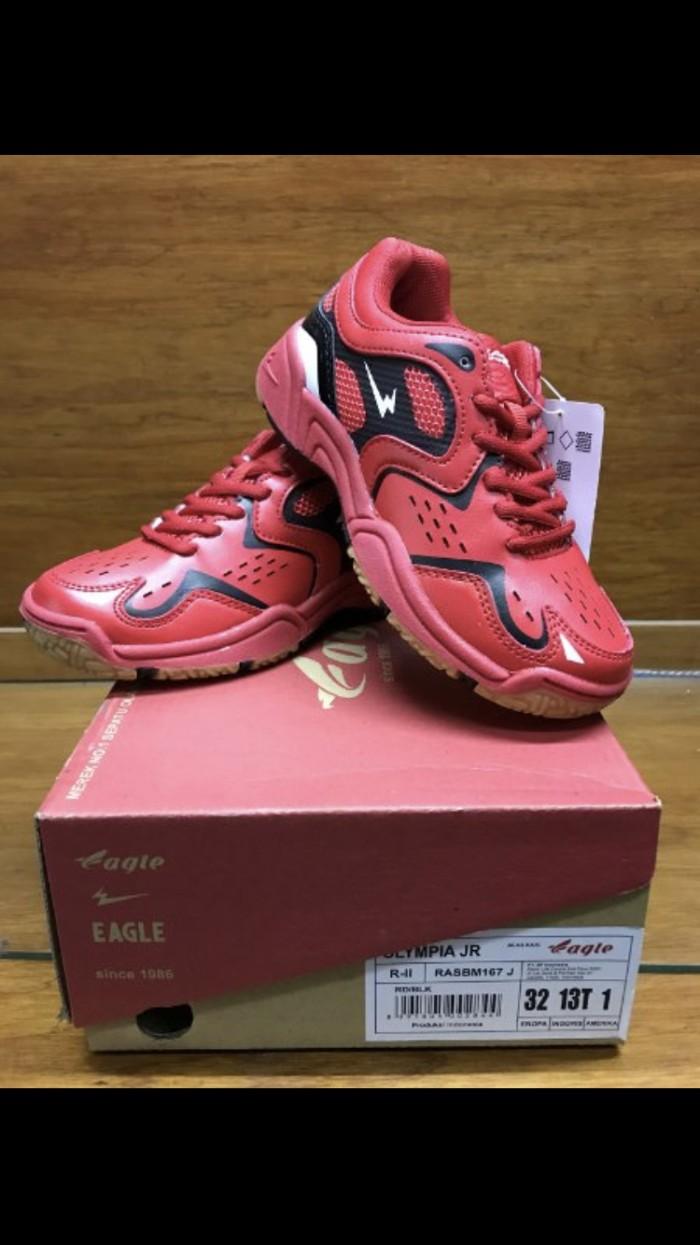 Review Sepatu Badminton Bulutangkis Anak Anak Eagle Olympia Jr ... bc9616816d