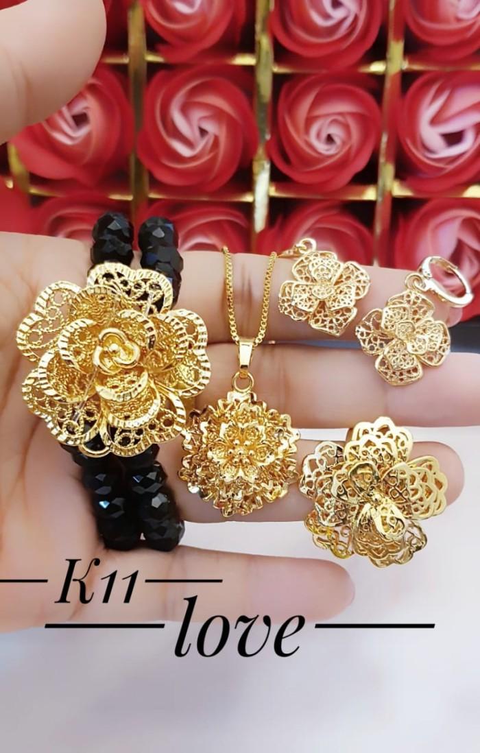Jual xuping set perhiasan kalung gelang cincin lapis emas ...