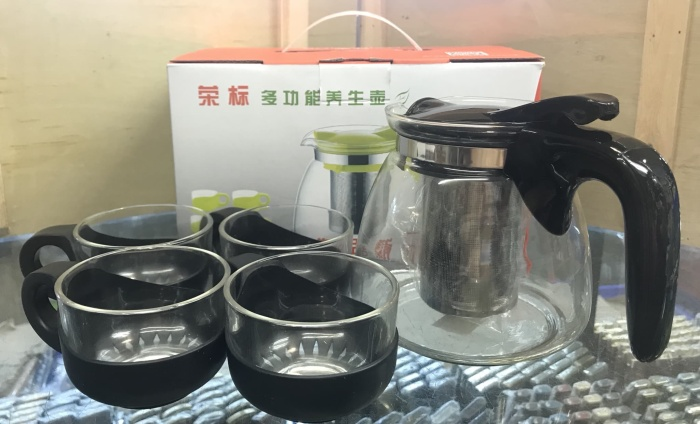 harga Rongbiao glass teapot with filter and 4 teacup stainless steel 304 Tokopedia.com
