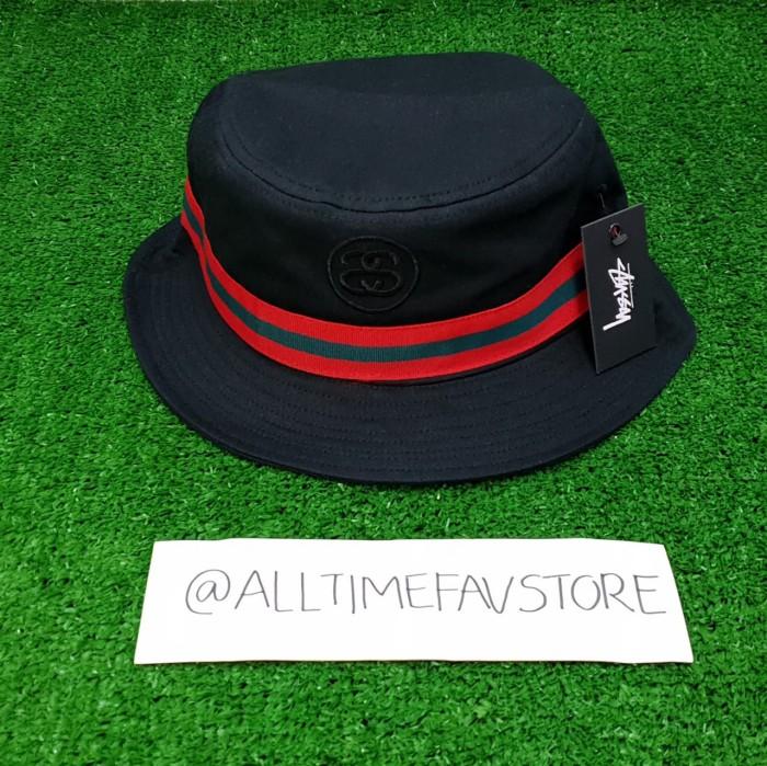 603e683103a Jual Topi Stussy Link Band bucket Hat Gucci Stripe Black Original ...