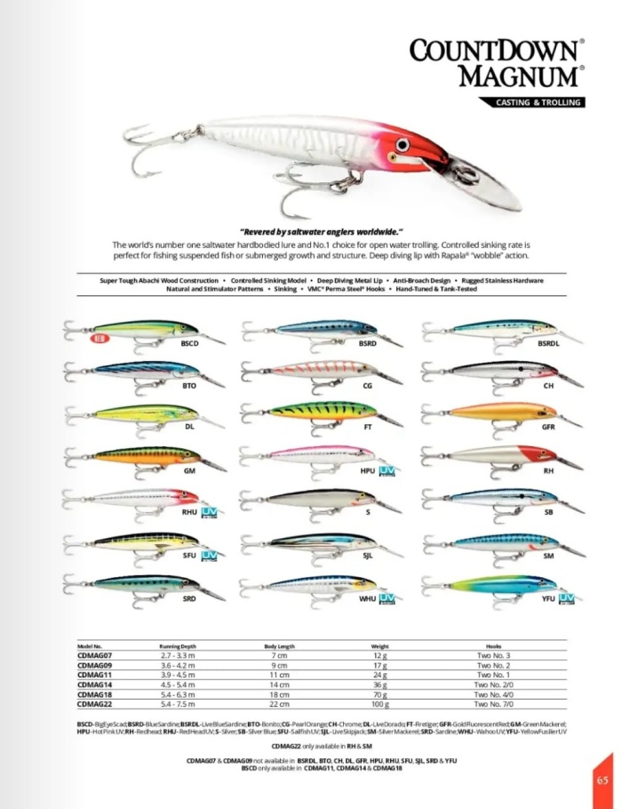 Brand new DIFFERENT COLORS 12 g 11 cm Rapala COUNTDOWN CD11