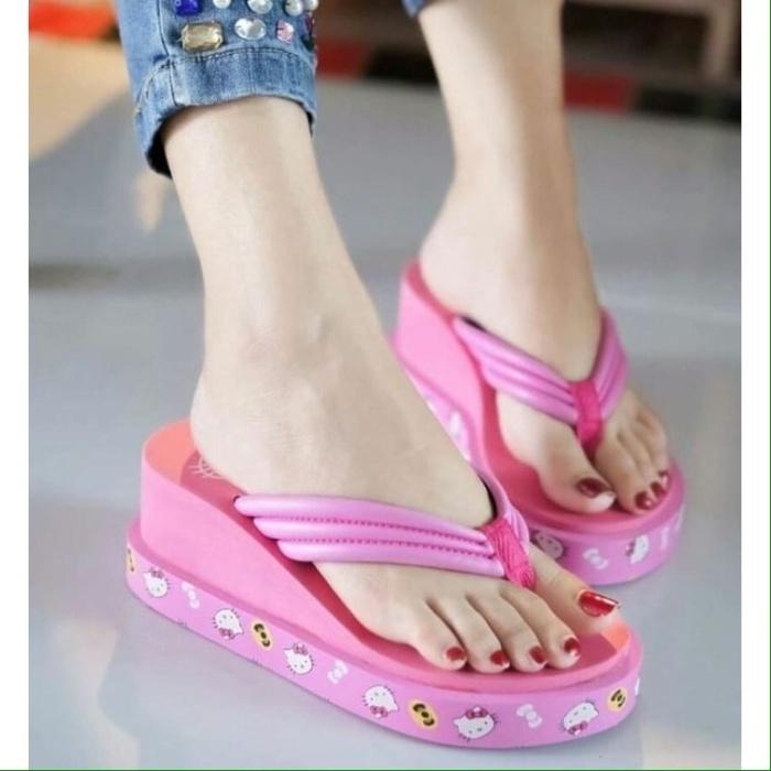 52037cbeb Jual Sandal Wedges Capit Hello Kitty Cute Best Seller Sandals Heels ...