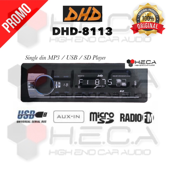 harga Single din dhd dhd-8113 tape usb radio 8113 mp3 audio mobil head unit Tokopedia.com
