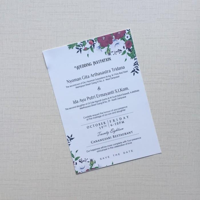 Jual Undangan Pernikahan Custom 1 Lembar Bolak Balik No 02 Kota