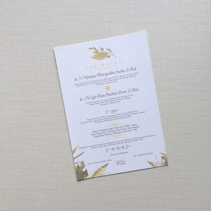 Jual Undangan Pernikahan Custom 1 Lembar Bolak Balik No 03 Kota