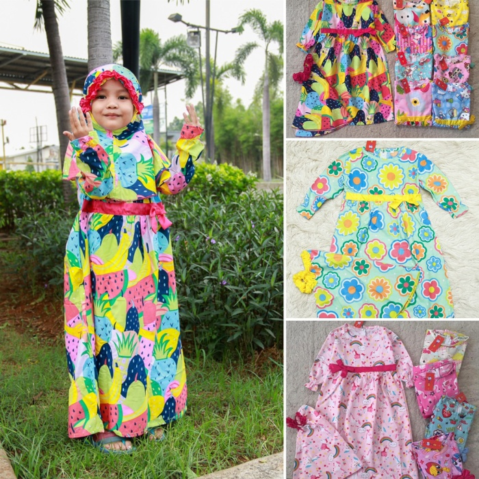 Foto Produk gamis katun kerudung anak mix motif - size 1 dari baby smile