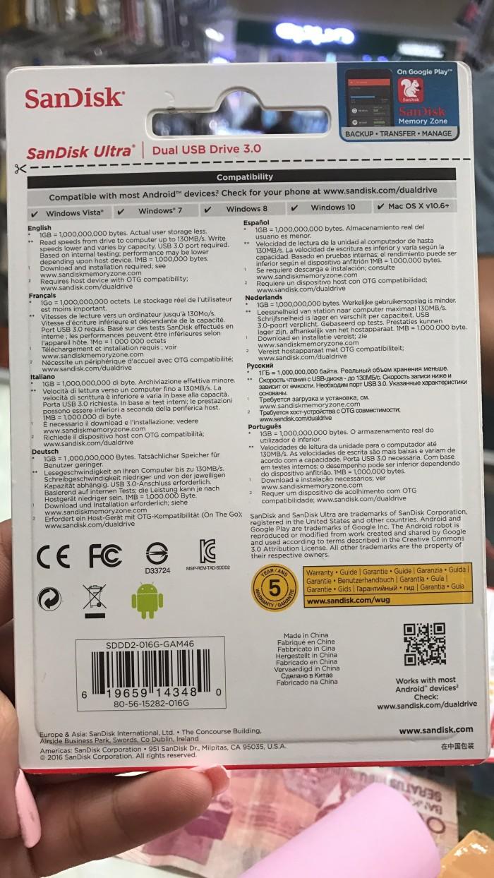 Jual Sandisk Ultra Dual Usb Drive 30 16gb Flashdisk Otg Flasdisk Original