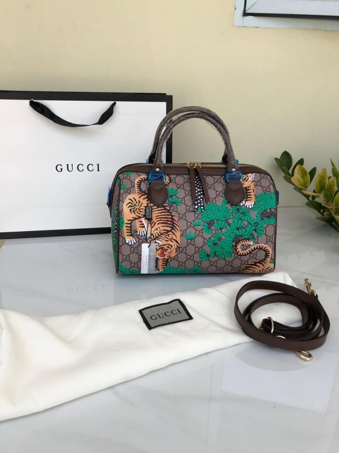 b6e17d1e825 Jual gucci Boston Bag Bengal Print GG Coated Canvas mirror quality ...