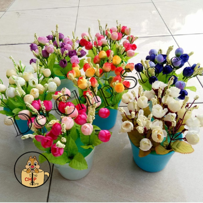 Jual Pot Bunga Plastik Shabby - mini rose buds artificial flower ... 55cf5adb75