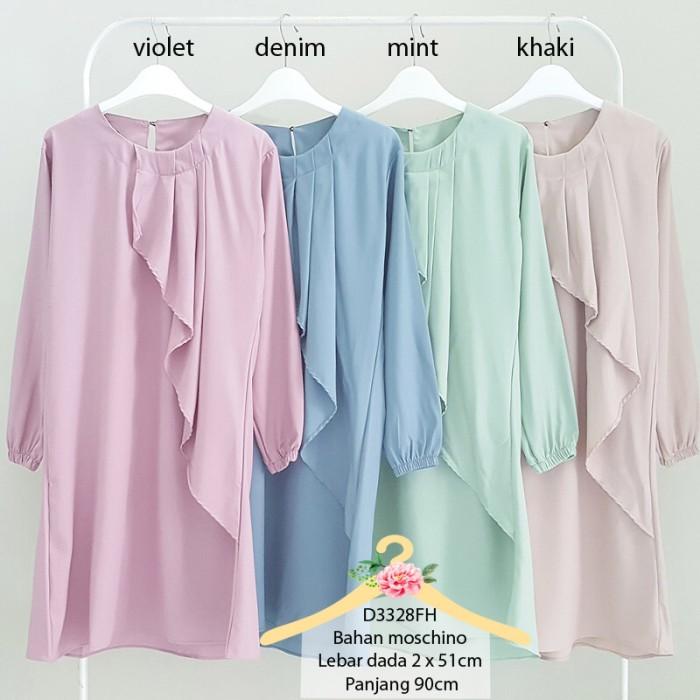 Baju tunik moschino pastel ruffle tunic blouse muslim wanita 3328
