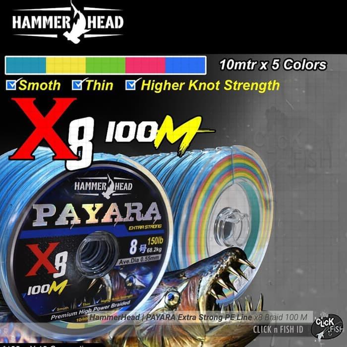 harga Senar hammerhead | payara x8 braid 100m multicolor pe#2.5 50lb/0.28mm Tokopedia.com