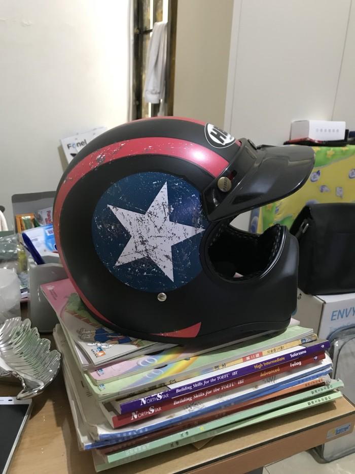 Helm Cakil Hitam Biru HBC Bintang Putih 2