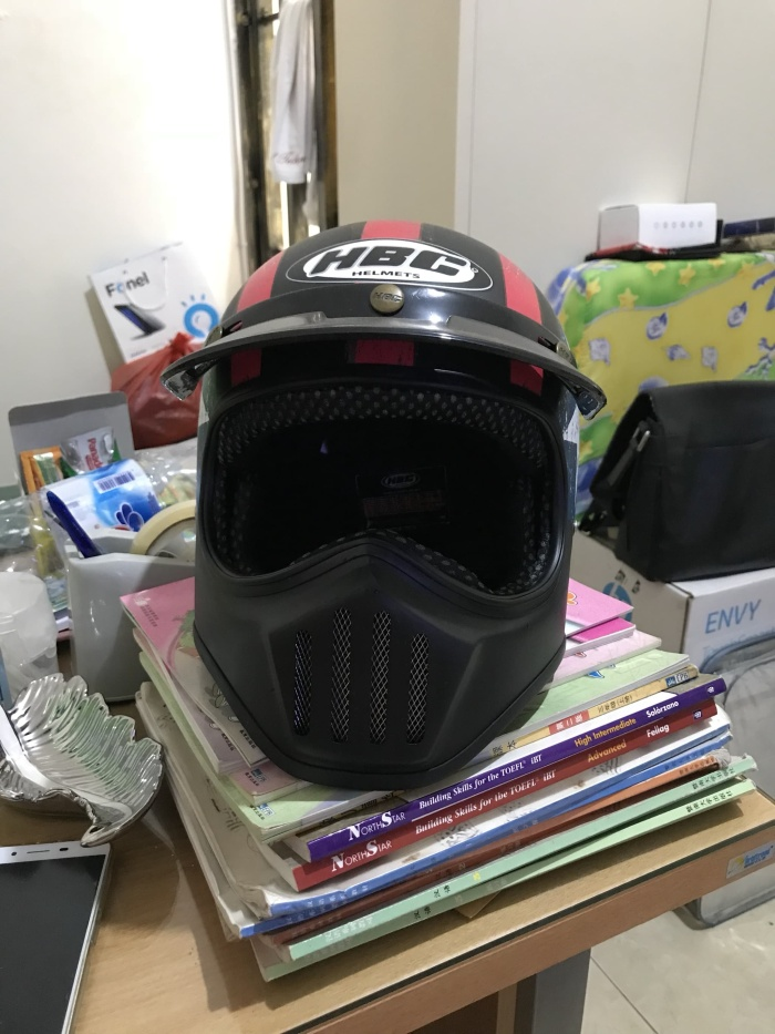 Helm Cakil Hitam Biru HBC Bintang Putih 1
