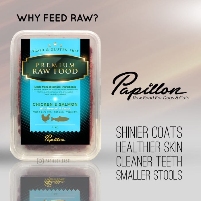 Papillon raw dog food chicken + salmon - makanan snack anjing kucing
