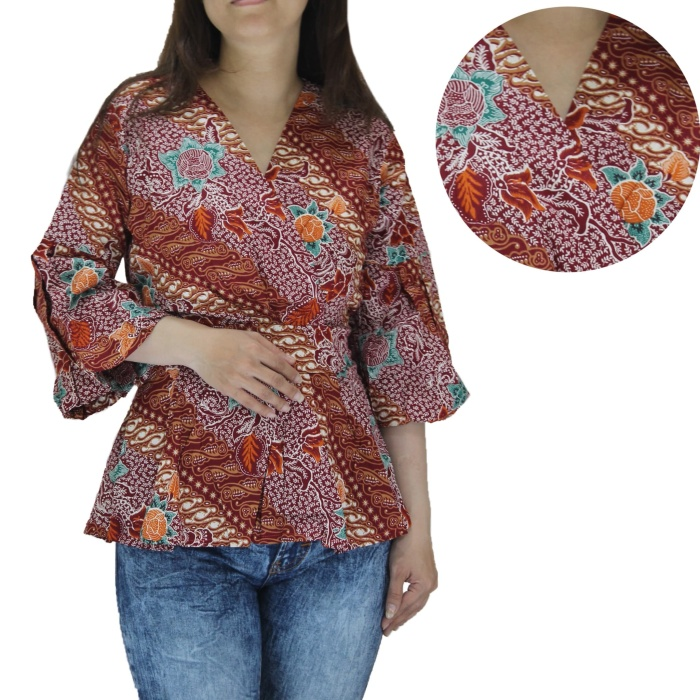 Jual Atasan Wanita Blouse Batik Kimono Lengan Panjang Tangan Balon Jakarta Utara 35an Tokopedia