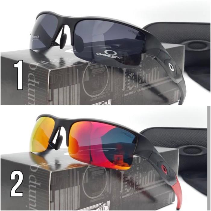 Kacamata sunglass sepeda oakley flack flak jacket half polarized hitam d5b977a03a