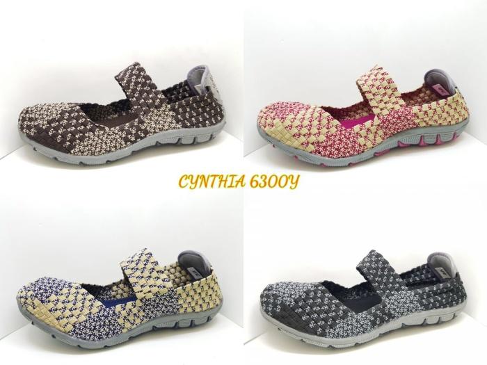 harga Cynthia 6300y ori sepatu wanita anyaman rajut flat wedges slip on Tokopedia.com