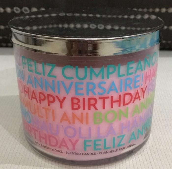 Bath And Body Works BBW 3 Candle Wick Happy Birthday