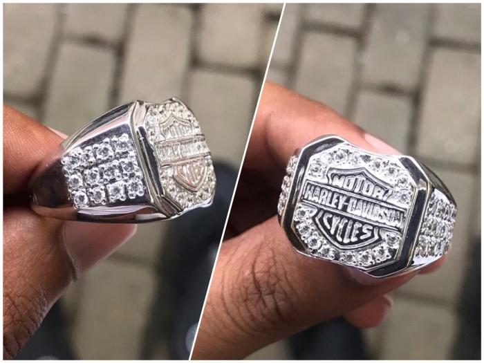 Cincin Harley Davidson Perak 925 Lapis Emas Putih