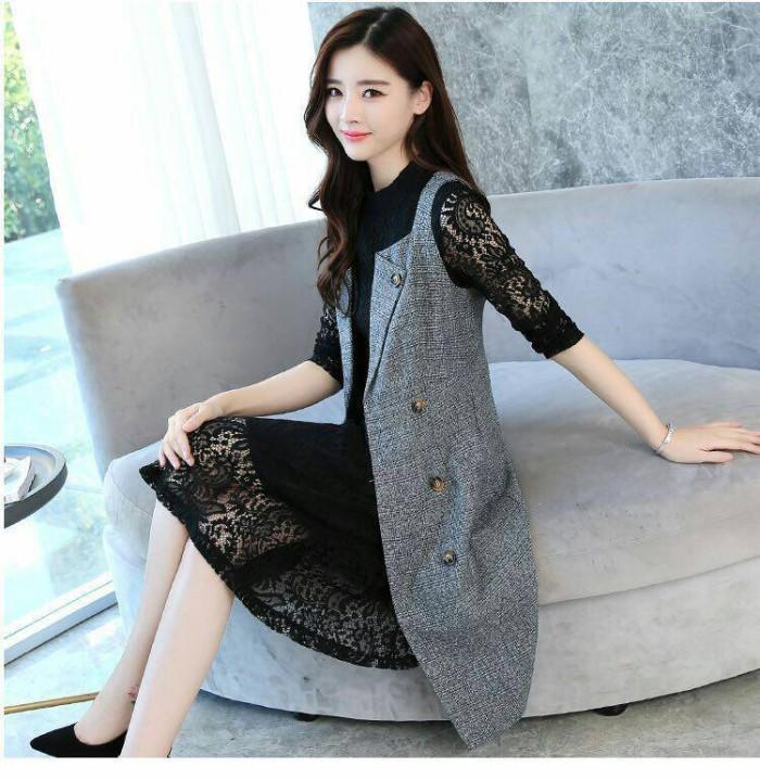 Jual 1 Set Premium Dress Midi Lace Outer Grey Midi Dress Dress Korea
