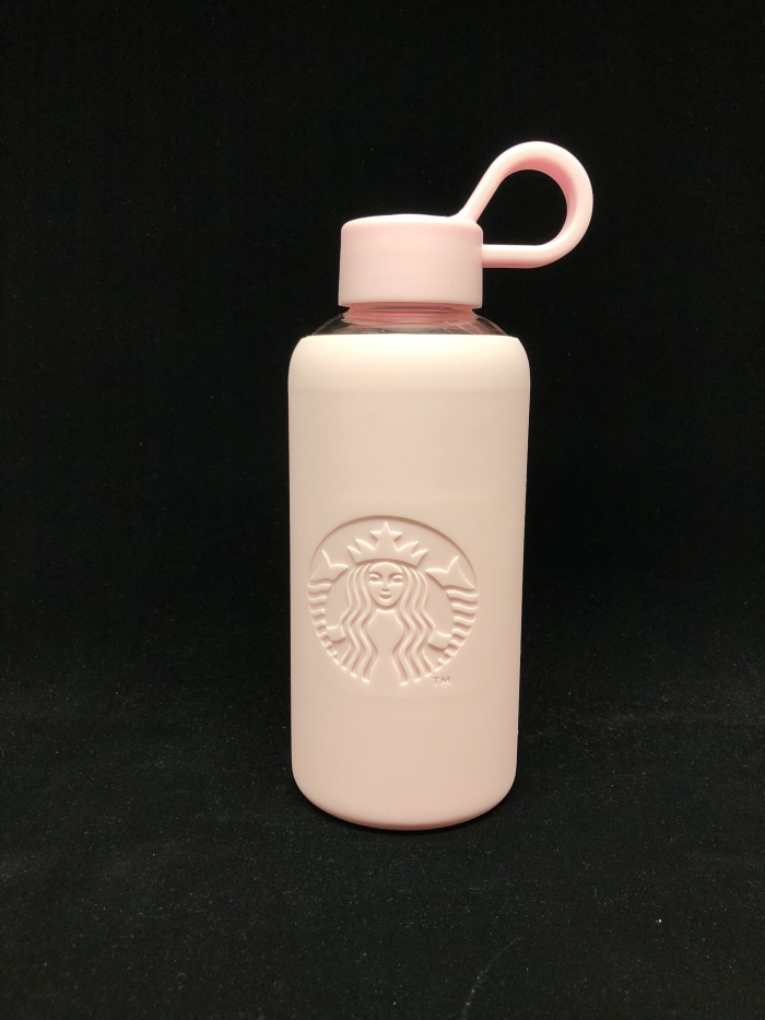 Starbucks Light Pink Glass Bottle Tumbler with Silicone Cover