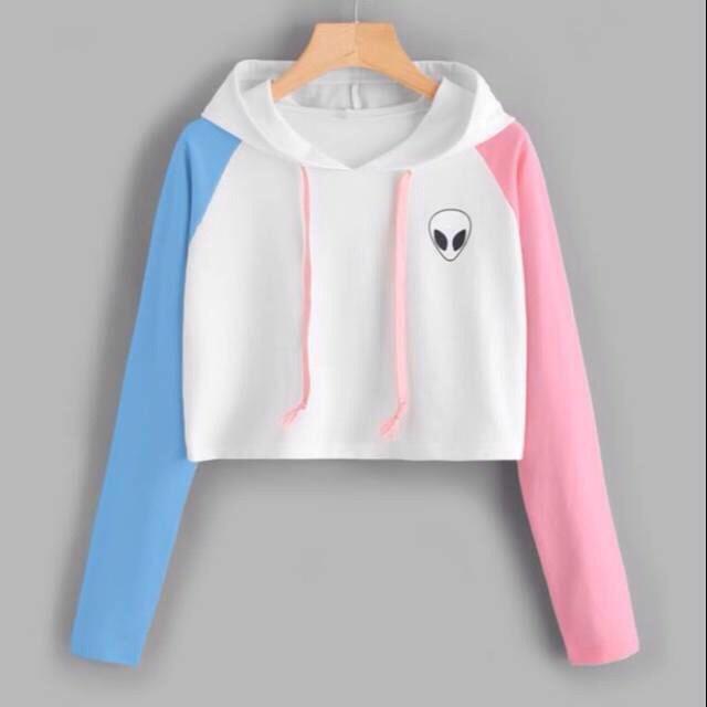 harga Sweater crop alien pink blue sleeve tali 130 Tokopedia.com
