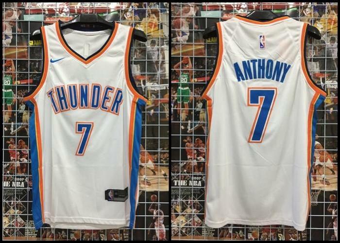 new arrival 17e78 d5ca2 Jual Jersey Basket Swingman Oklahoma City Thunder OKC Carmelo Anthony Putih  - RR7 Shop | Tokopedia
