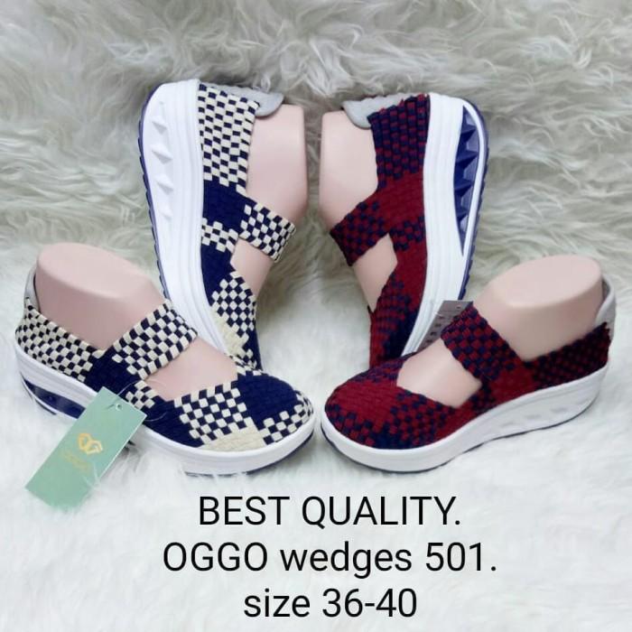 harga Sepatu wedges rajut anyaman anyam oggo type 501 high quality  Tokopedia.com 387cf692fa