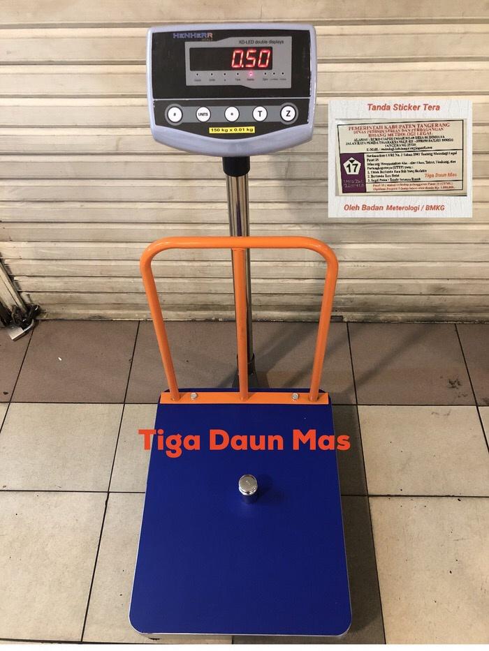 harga Timbangan duduk / timbangan lantai / bench scale 100 kg/150 kg + pagar Tokopedia.com