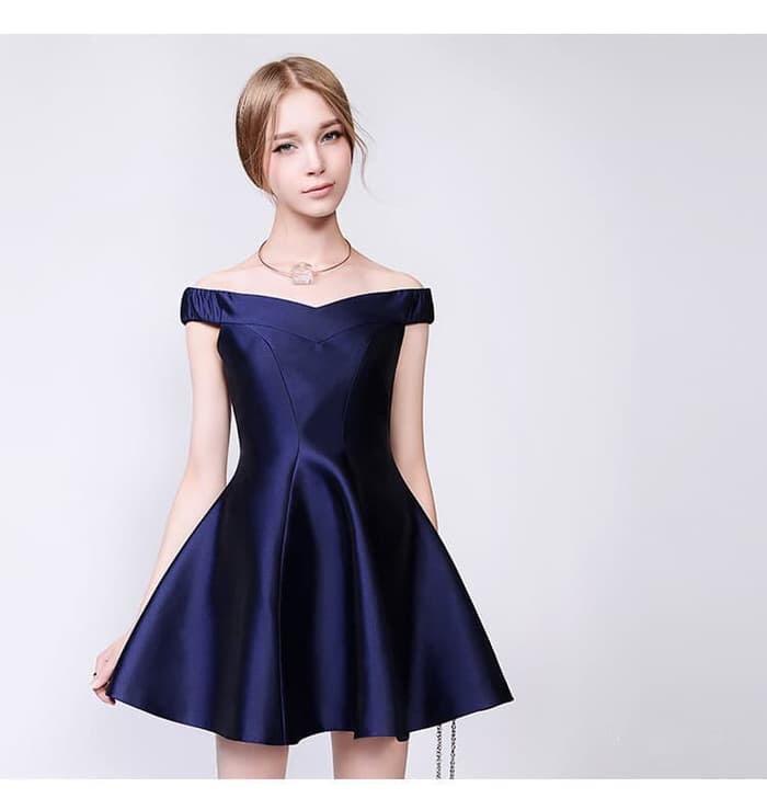 Jual Dress Pesta Coctail Dress Gaun Navy Blue Blue Biru